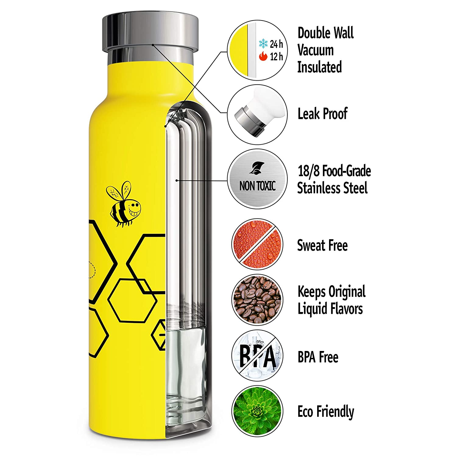 Keeps Cold 24 Hours Vacuum Insulated Water Bottle Double Walled Stainless Steel Eco-Friendly Leak Proof Sweat Free Durable Powder Coated 17oz // 20oz // 25oz Thermos Hot 12 Hours
