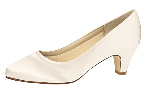 474e8775c71172 Rainbow Club Brautschuhe Megan - Pumps Ivory Satin - Trichterabsatz - Gr 36  EU 3 UK
