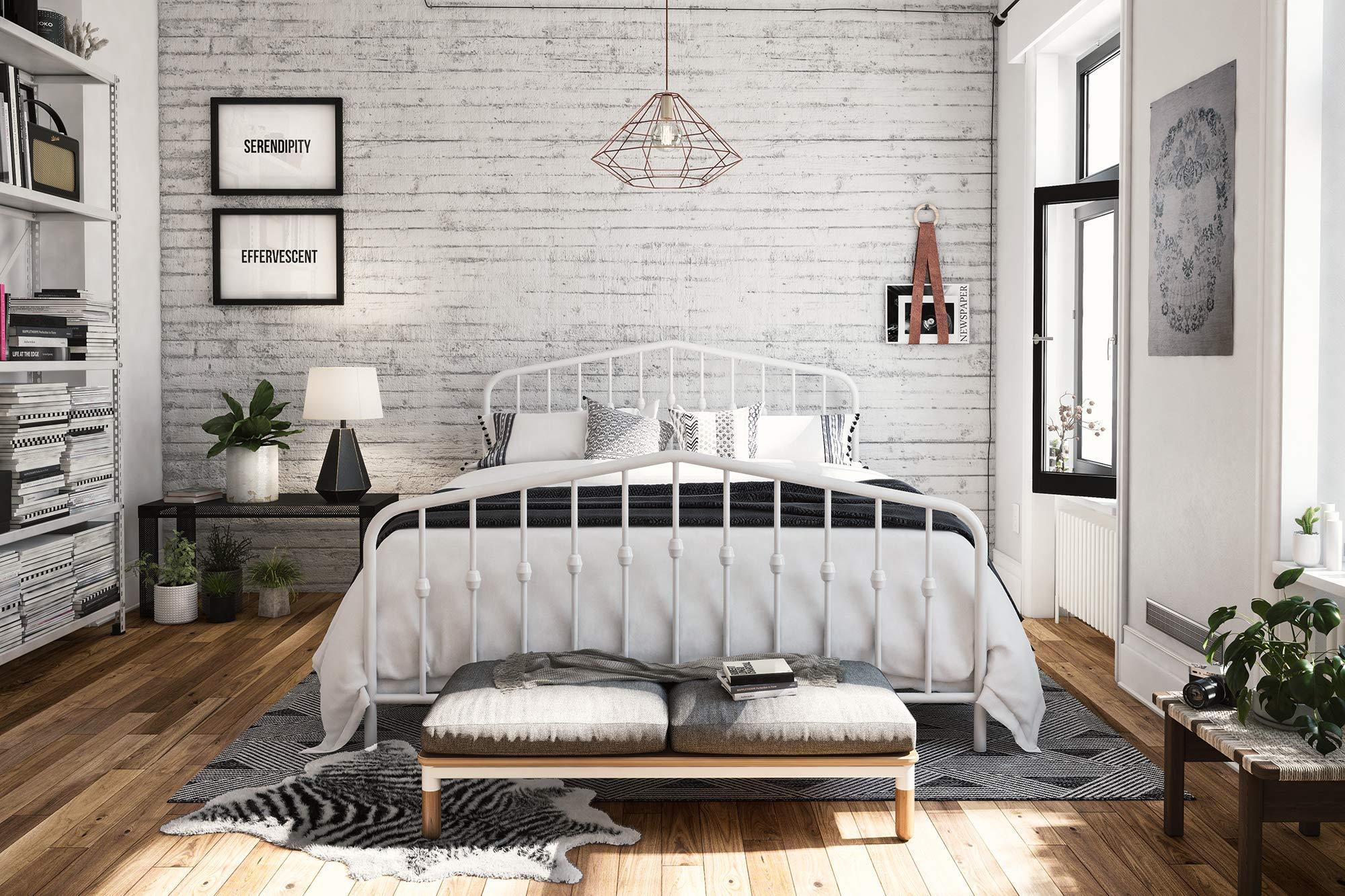 Novogratz Bushwick Metal Bed, Modern Design, Full Size - White by Novogratz