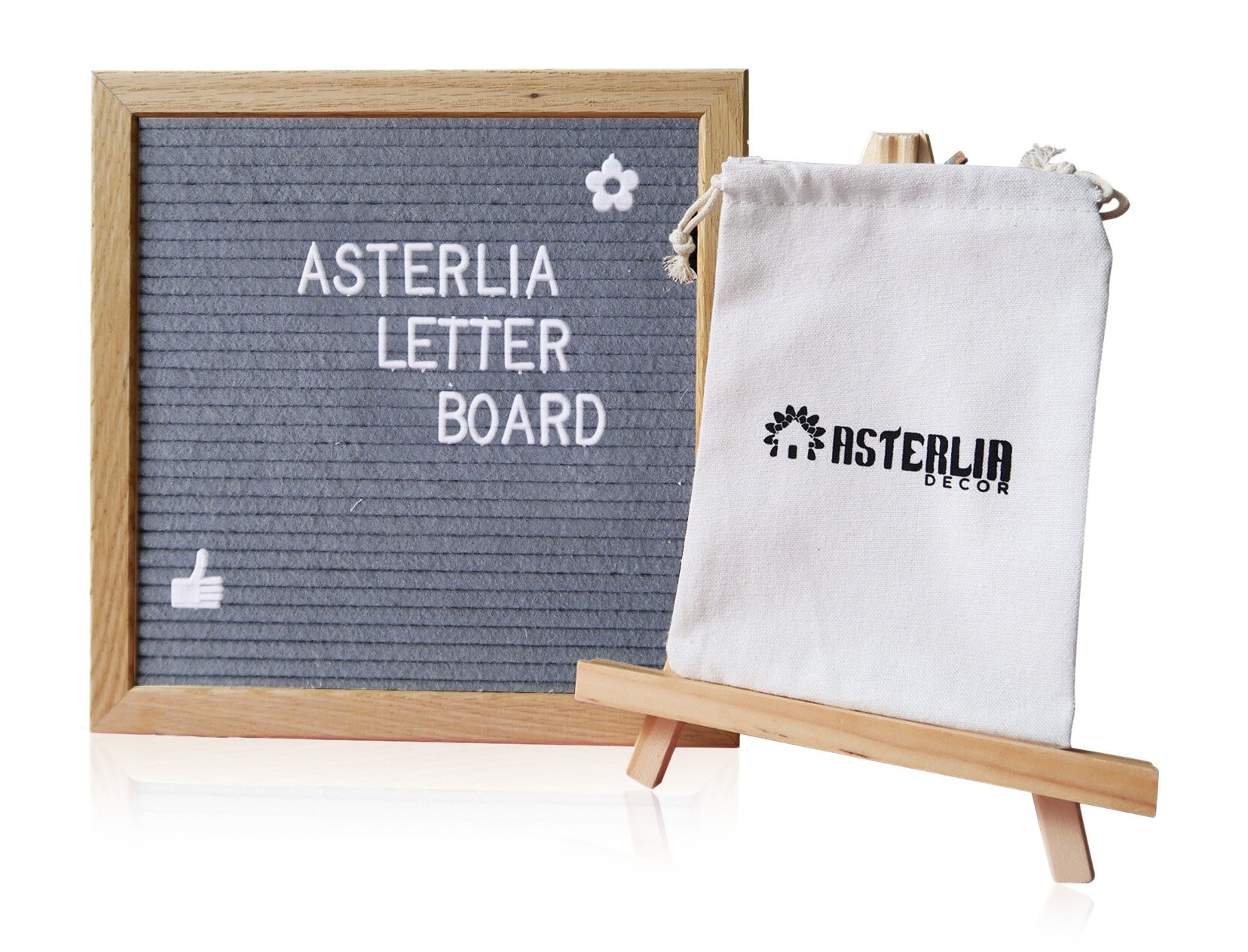 Felt Letter Board Sign Set Gray- 10x10 Inches Oak Frame, 374 Pieces Alphabets, Numbers & Symbols, Wood Stand Easel, and Canvas Bag- Display Personalized Messages Creatively- Asterlia Decor