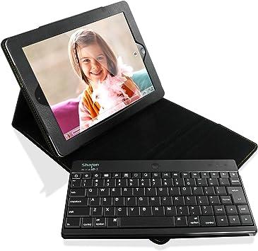 Sharon - Funda con teclado inalámbrico para iPad 4 retina, iPad 3 y iPad 2 - Teclado Bluetooth desmontable - QWERTY inglés