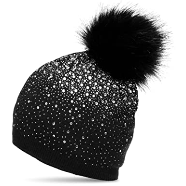 f5bd0dbaf47 CASPAR MU188 Modern Women Winter Knitted Bobble Hat with Large Faux Fur Pom  Pom and Strass