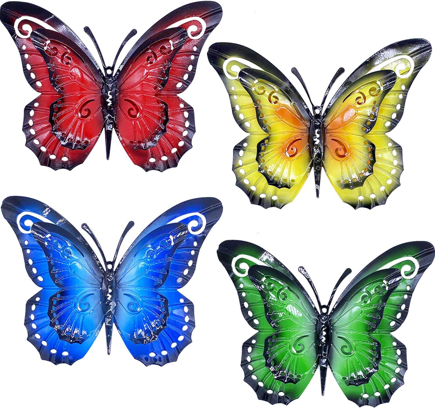 Large Metal Butterfly Wall Decor Outdoor - 4 Pack 9.5in Double Wings Butterflies Wall Sculpture Hanging Decor for Home Yard Patio Garden Decoration (4 Colors)