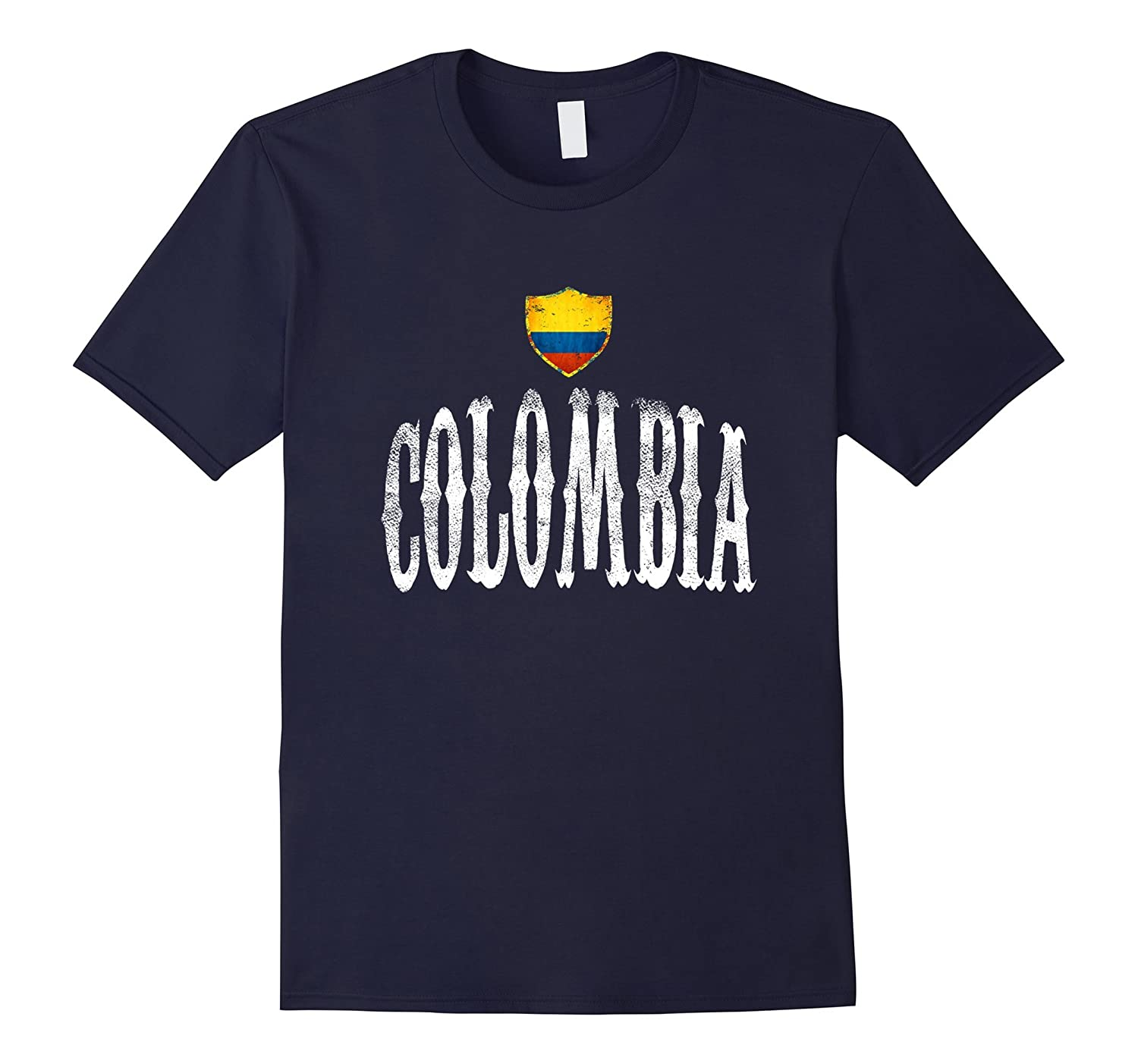 Vintage Colombia Flag T-shirt Colombian Pride Soccer Sports-RT