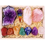 Premium Healing Crystals Kit in Wooden Box - 7 Chakra Set Tumbled Stones, Rose Quartz, Amethyst Cluster, Crystal Points, Chak