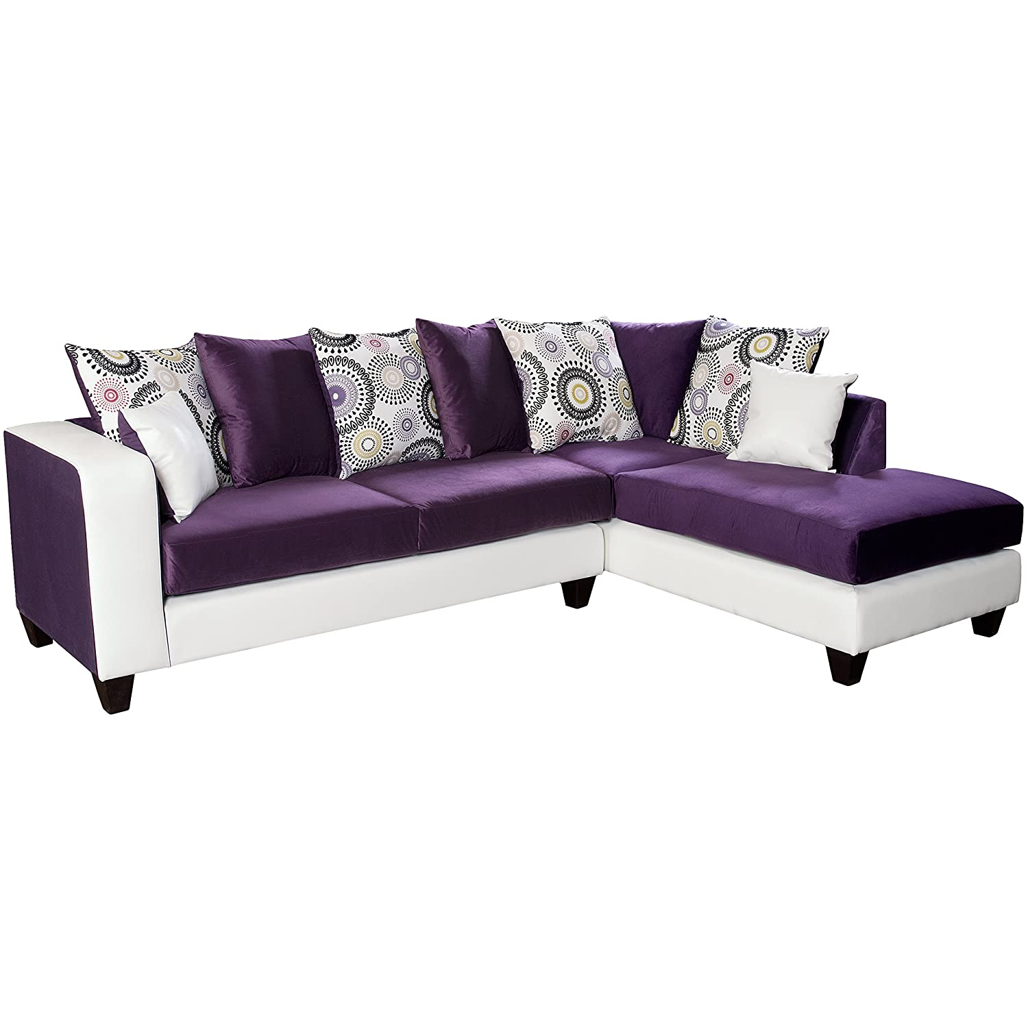 Amazon.com Flash Furniture Riverstone Implosion Purple Velvet Sectional Kitchen u0026 Dining  sc 1 st  Amazon.com : velvet sectional - Sectionals, Sofas & Couches
