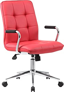 Boss Office Products Modern Office Chair with Chrome Arms, Traditional, Red