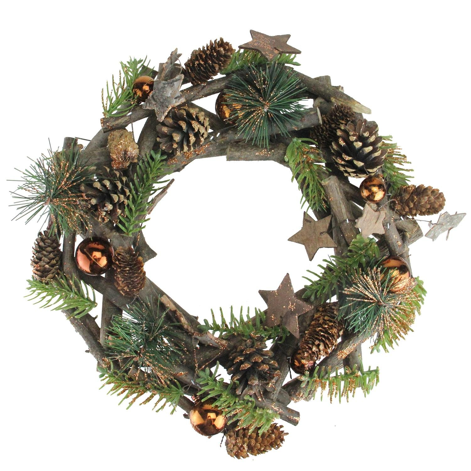 Northlight SH01778 Stars and Ornaments Twig Christmas Wreath, 12''