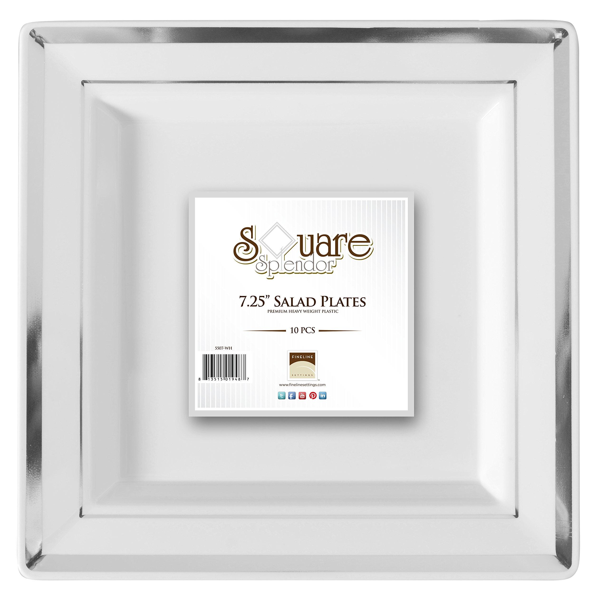 Square Splendor 5507-WH Trim Square Dessert Plate, 7.25-Inch, White and Silver, Pack of 120 by Square Splendor (Image #5)
