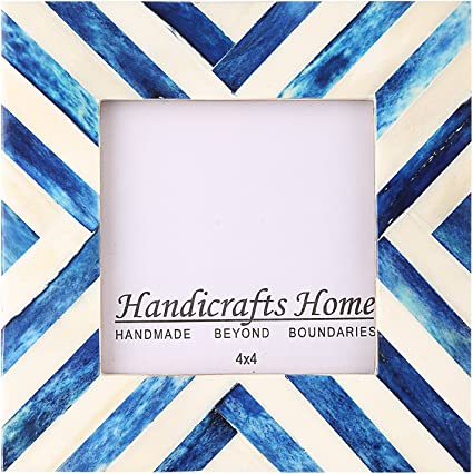 Picture Frames Photo Frame Chevron Herringbone Vintage Wooden Handmade Naturals Bone Classic Size 4x4 Inch Blue Home Kitchen Amazon Com