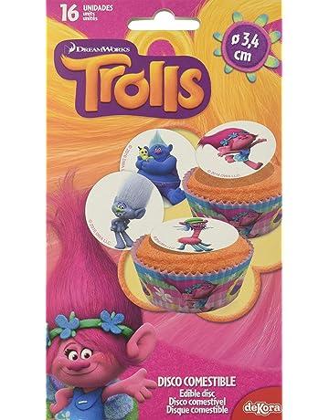 Dekora - 12 Mini Disco Comestible de Trolls la Pelicula para Cupcakes, Muffins o Magdalenas