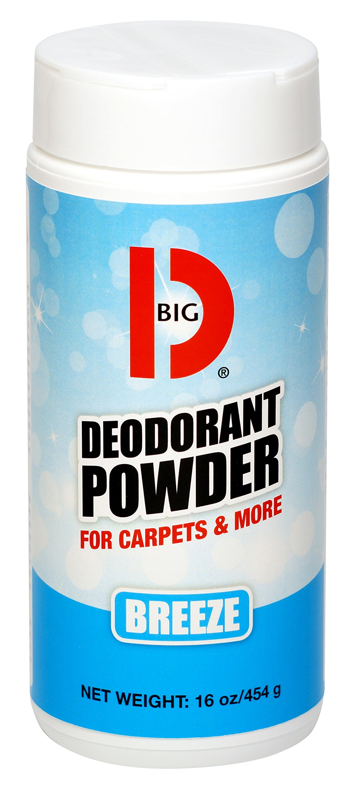 Big D 176 Deodorant Powder for Carpets & More, Breeze Fragrance, 16 oz (Pack of 12) - Ideal for use on carpet, wood, textiles and trash dumpsters