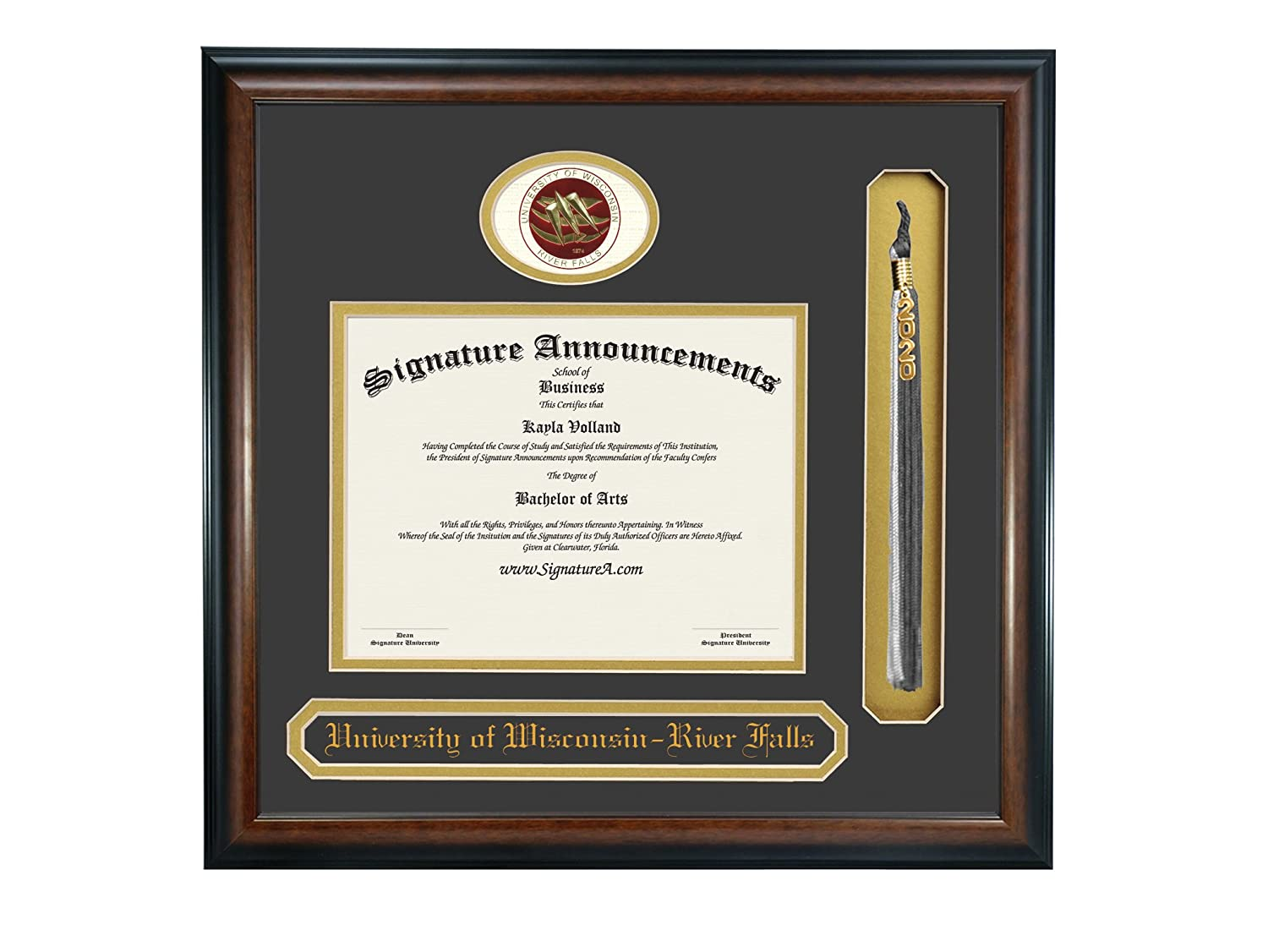 Sculpted Foil Seal Name /& Tassel Graduation Diploma Frame 16 x 16 Matte Mahogany Signature Announcements University of Wisconsin-River Falls Undergraduate