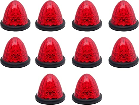 """20 Red LED 2/"""" Beehive Cone Lights Trailer 10 Red 10 Amber New Clearance Marker"""