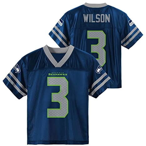 ff4ceafaa Outerstuff Russell Wilson Seattle Seahawks #3 Navy Blue Youth Home Player  Jersey (Small 8