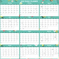 """2020 Yearly?Wall?Calendar - 2020 Wall Calendar with Thick Paper, Pocket, 34.8"""" x 23"""", January to December 2020, Horizontal - Teal Floral"""