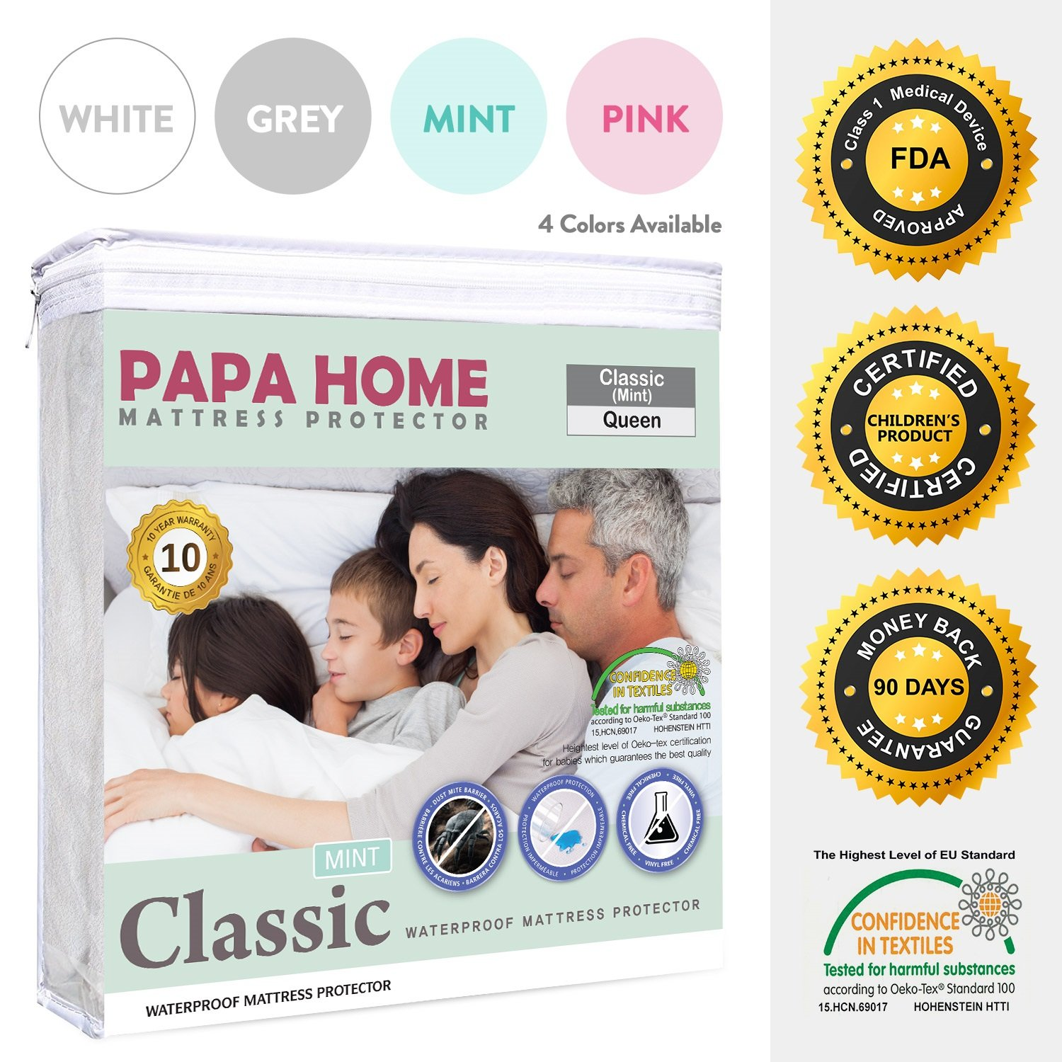 Papahome Classic Hypoallergenic Mattress Protector - Lab Tested Waterproof - Fitted Polyester Jersey Cover - Vinyl Free - 4 Different Colors Available (Twin, Mint)