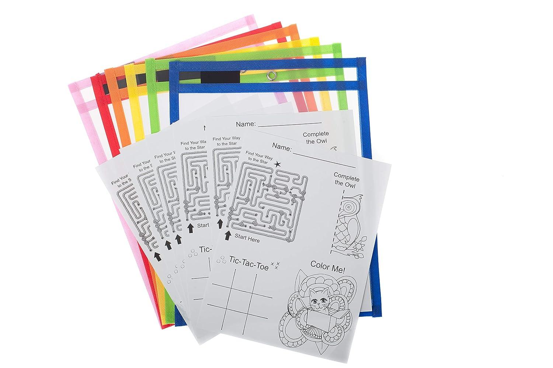 Laforel Lot de 6 pochettes effa/çables /à sec avec vinyle plastique transparent r/ésistant et coutures color/ées fluo 25,4 x 33 cm pour feuilles A4