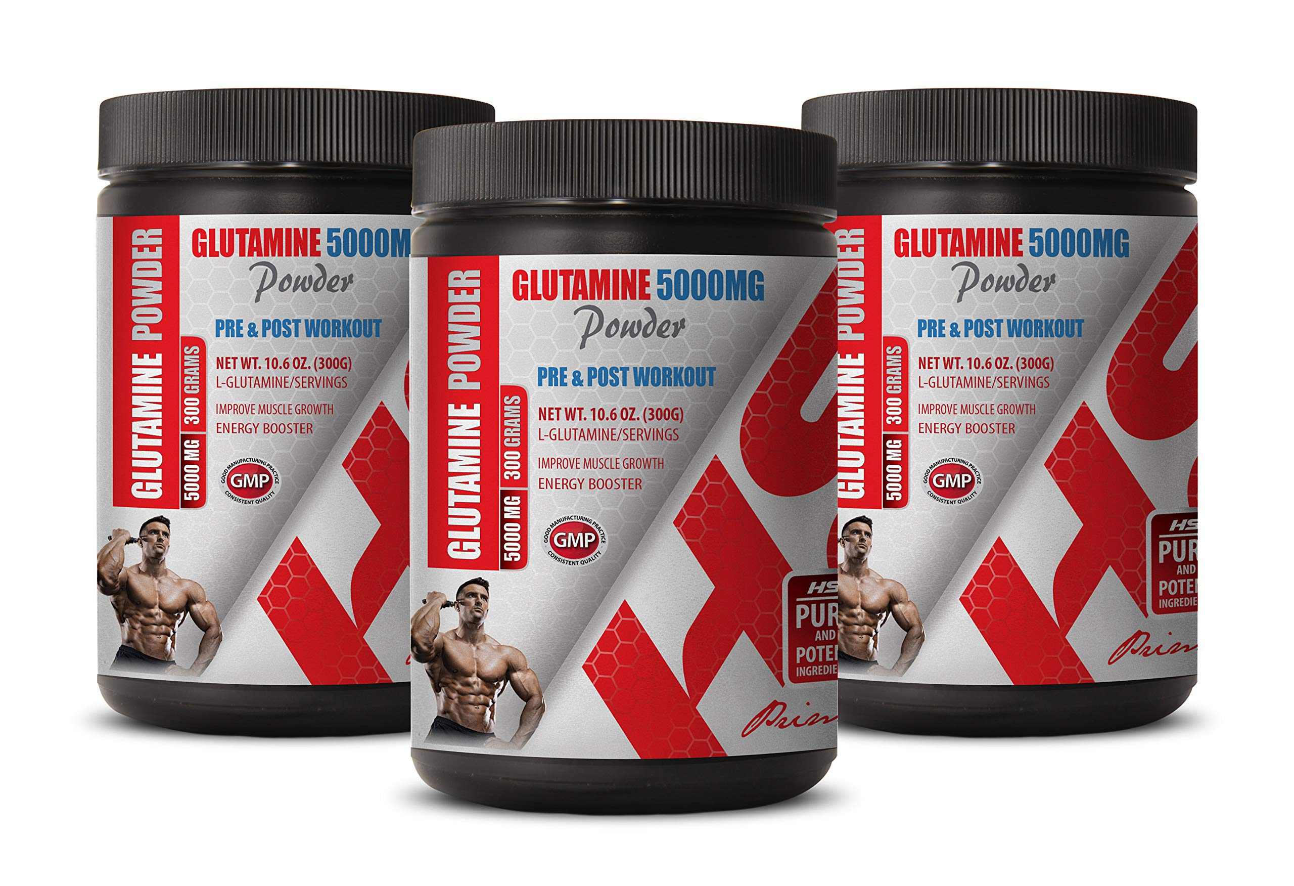 Muscle Recovery After Workout Supplements - PRE & Post Workout - GLUTAMINE Powder 5000MG - glutamine Powder Bulk Supplements - 3 Cans 900 Grams