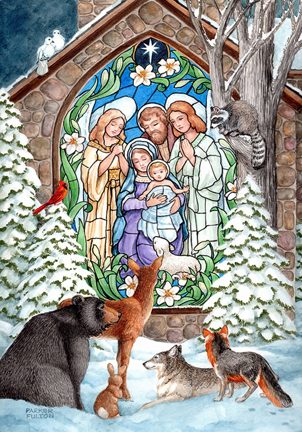 Toland Home Garden Winter Nativity 12.5 x 18 Inch Decorative Stained Glass Christmas Church Animal Garden Flag - 112517