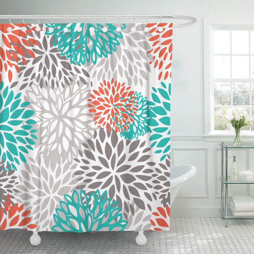 Accrocn Waterproof Shower Curtain Curtains Fabric Orange Gray And Turquoise White Dahlia Extra Long 72x84 Inches Decorative Bathroom Odorless Eco Friendly