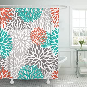 Accrocn Waterproof Shower Curtain Curtains Fabric Orange Gray and Turquoise White Dahlia 60x72 Inches Decorative Bathroom Odorless Eco Friendly Anti Bacterial