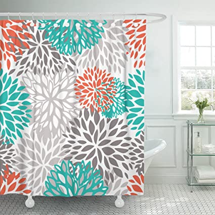 Accrocn Waterproof Shower Curtain Curtains Fabric Orange Gray And Turquoise White Dahlia 36x72 Inches Decorative Bathroom