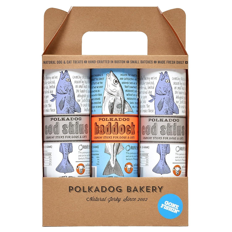Polka Dog Bakery Gone Fishin, due tubi Cod Skin 2.5oz e un tubo Haddock Skin 2oz, Made in USA