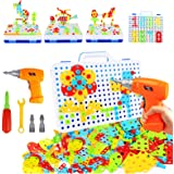 237 Pieces Electric DIY Drill Educational Set, STEM Learning Toys, 3D Construction Engineering Building Blocks for Boys…