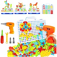 HAPTIME 237 Pieces Electric DIY Drill Educational Set, STEM Learning Toys, 3D Construction Engineering Building Blocks…