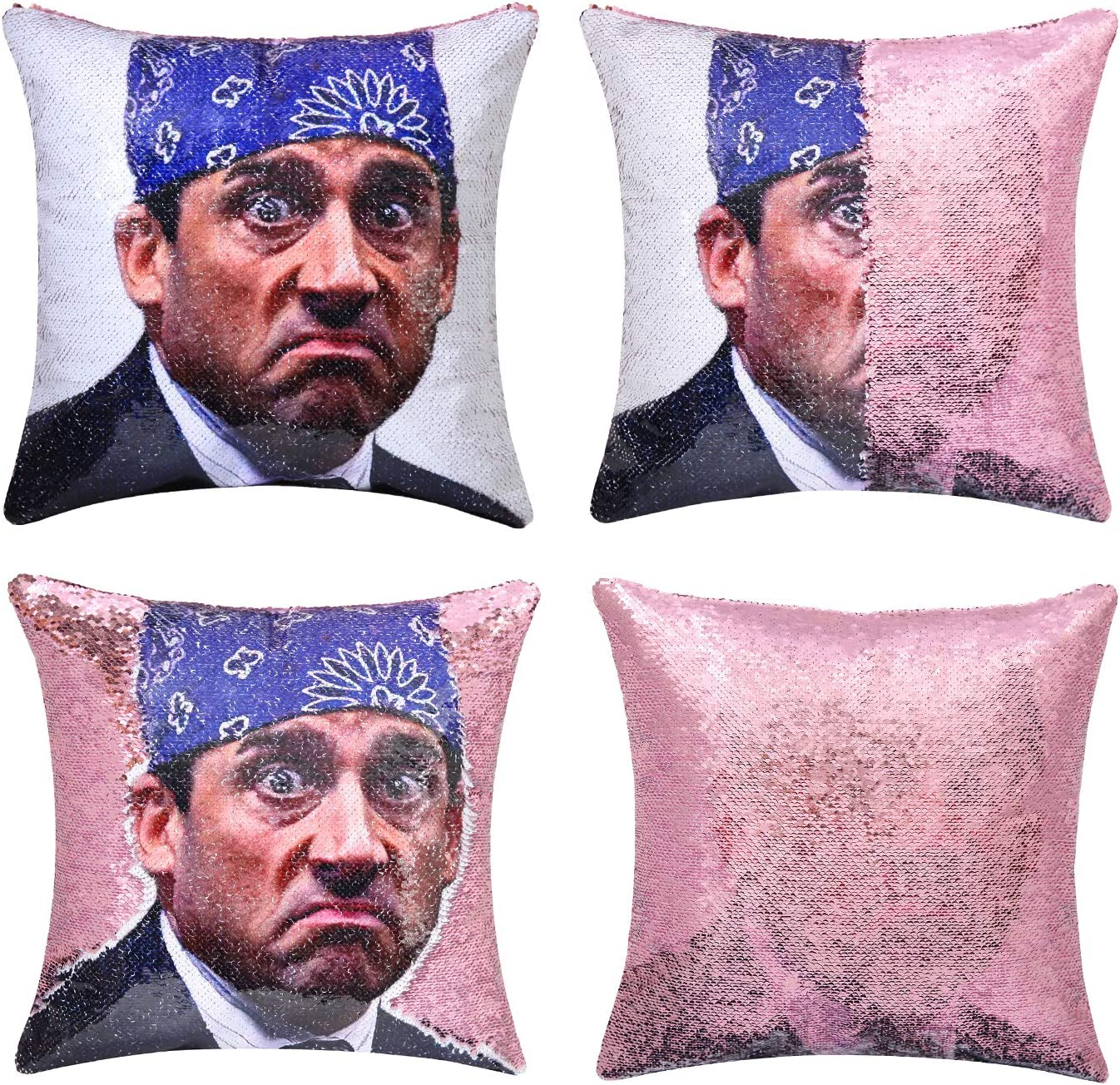 cygnus The Office Prison Mike Quote Humor Reversible Sequin Pillow Cover Mermaid Flip Pillow Case That Color Change Decor Cushion 16x16 inches (Pink Sequin)