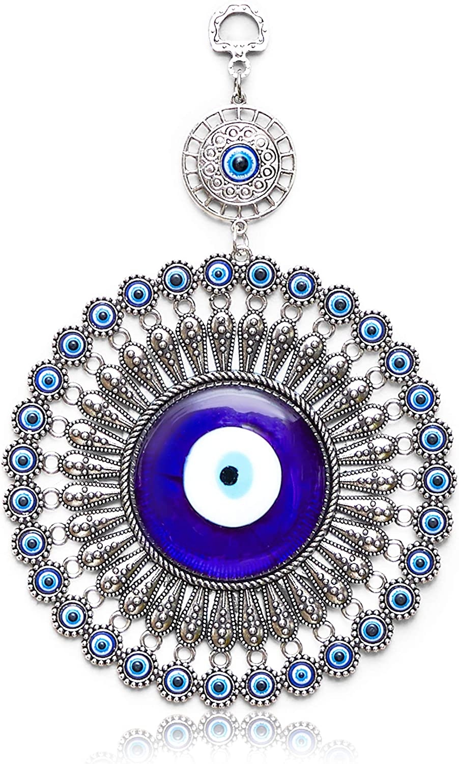 Evil Eye Wall Hanging, Turkish Amulet Decoration (Blue Glass, 5 Inches)