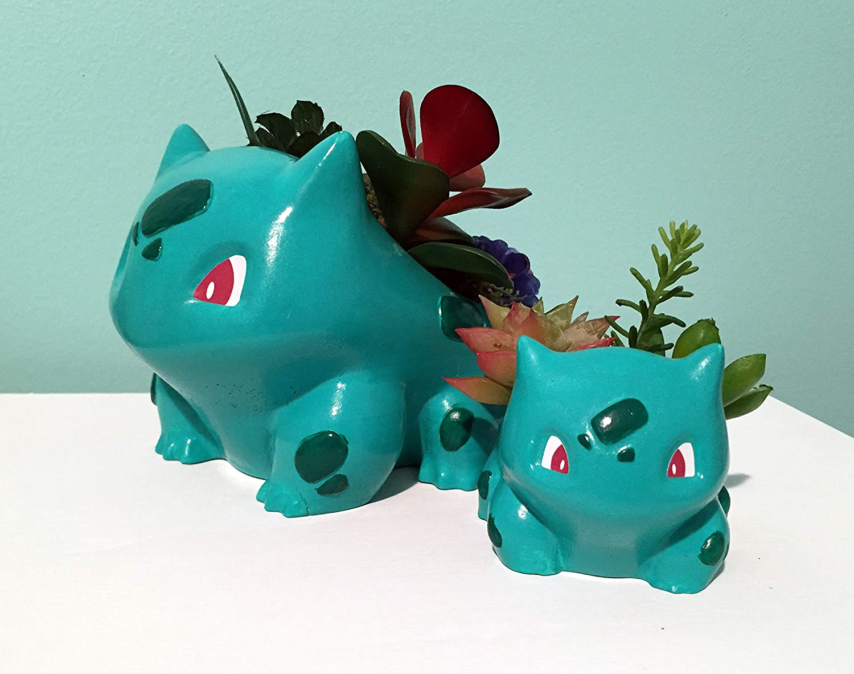 Mama Bulbasaur Pokemon Planter//Large Pokon Inspired Plant Pot//Hand painted Cement Planter