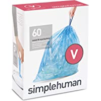 simplehuman Code V Custom Fit Recycling Drawstring Trash Bags, 16-18 Liter / 4.2-4.8 Gallon, 3 Refill Packs (60 Count…