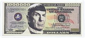 American Art Classics Spock Leonard Nimoy Star Trek Collectible Million Dollar Bill in Currency Holder.