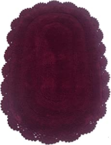 Chardin Home - 100% Pure Cotton - Crochet Oval Bath Rug, 21''x34'' with Latex Spray Non-Skid Backing, Burgundy