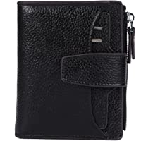 AINIMOER Women's RFID Blocking Leather Small Compact Bi-fold Zipper Pocket Wallet Card Case Purse with id Window