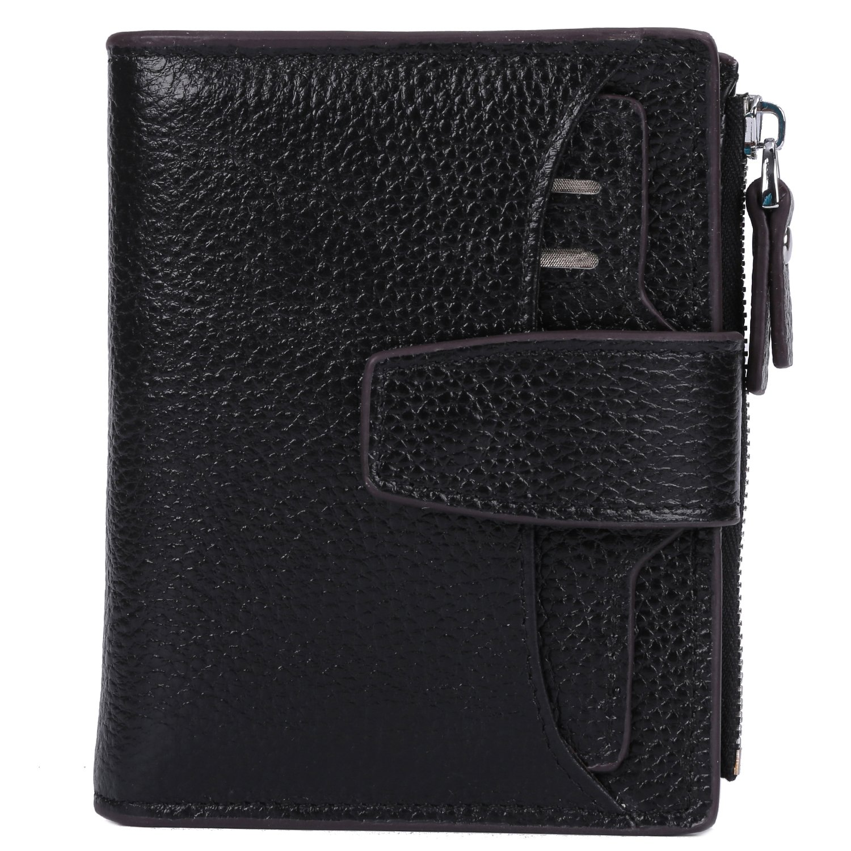 AINIMOER Women's RFID Blocking Leather Small Compact Bi-fold Zipper Pocket Wallet Card Case Purse (Lichee Black) by AINIMOER