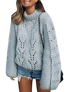 cfe5a0a83c2919 Simplee Women's O Neck Long Sleeve Knitted Pullover Sweater Hollow Out