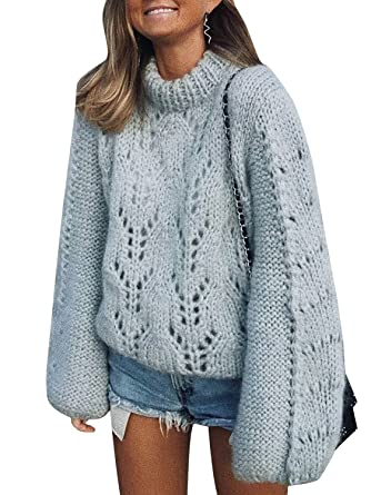 6525e391a Missy Chilli Women's Turtleneck Long Sleeve Knit Pullover Oversized Casual  Sweater