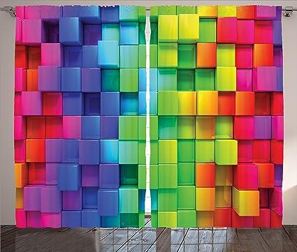 fa6aa0126559 Amazon.com  Ambesonne Colorful Home Decor Curtains