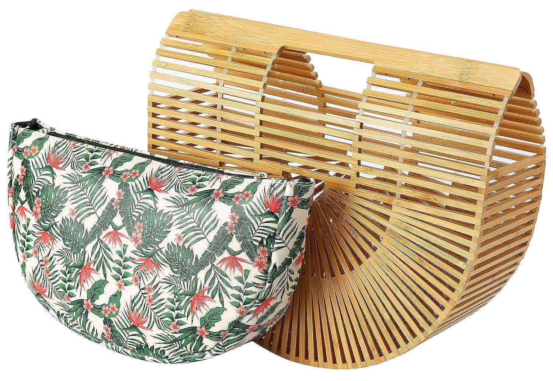 635fe975c Amazon.com: Obosoyo Women's Handmade Bamboo Handbag Summer Beach Sea Tote  Bag Beige Large: Shoes
