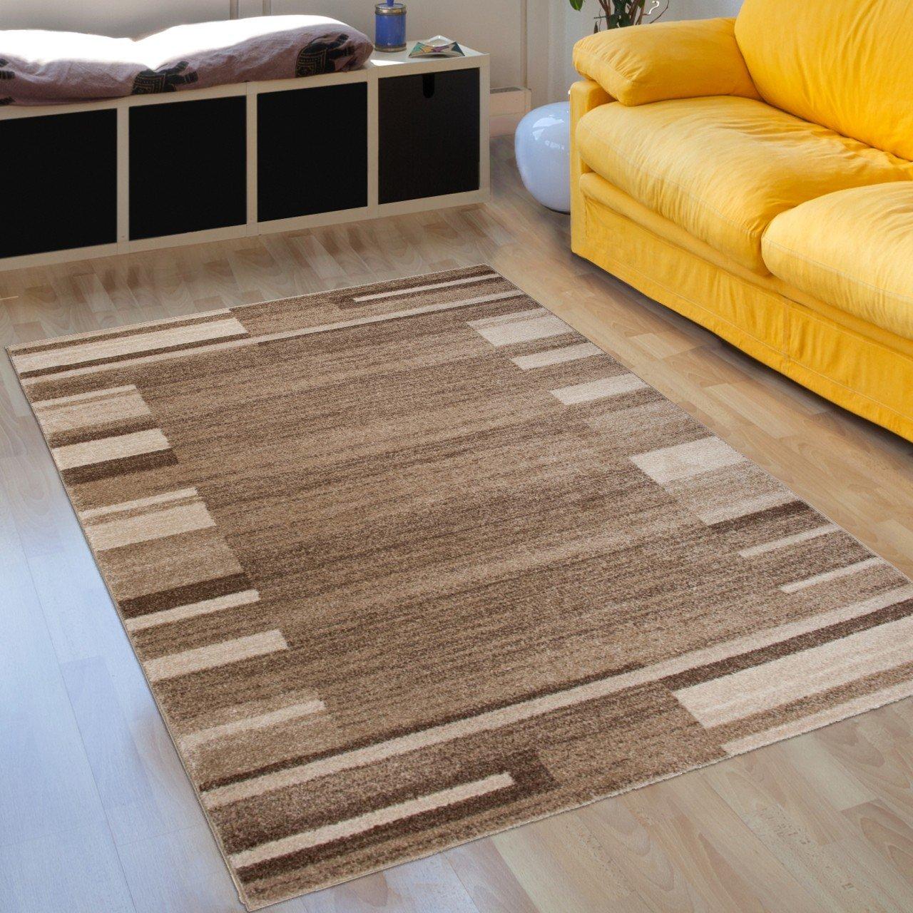 Designer Teppich Modern Wohnzimmer - Muster Meliert mit Bordüre in Beige - Kurzflor Teppiche Neu - Prestige Kollektion 190 x 270 cm