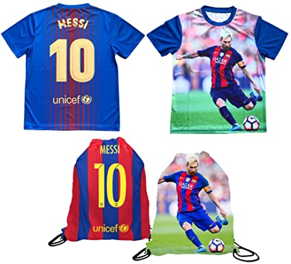 b82f9f36f3c Messi Jersey Style T-shirt Kids Lionel Messi Jersey Picture T-shirt Gift Set  Youth Sizes ✓ Premium Quality ✓ Lighteight Breathable ✓ Soccer Backpack  Gift ...