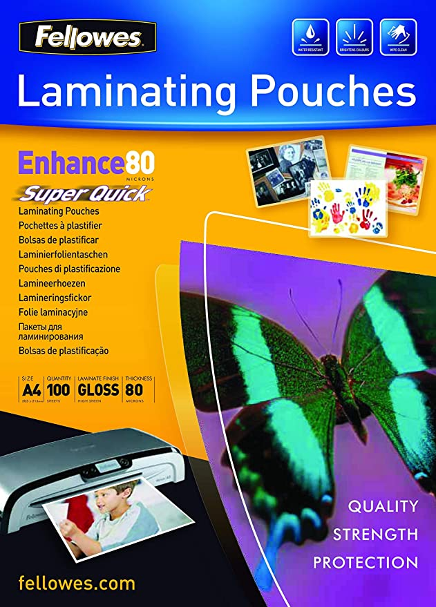 Amazon.com: FELLOWES A4 SUPER QUICK LAM POUCH PK100 ...