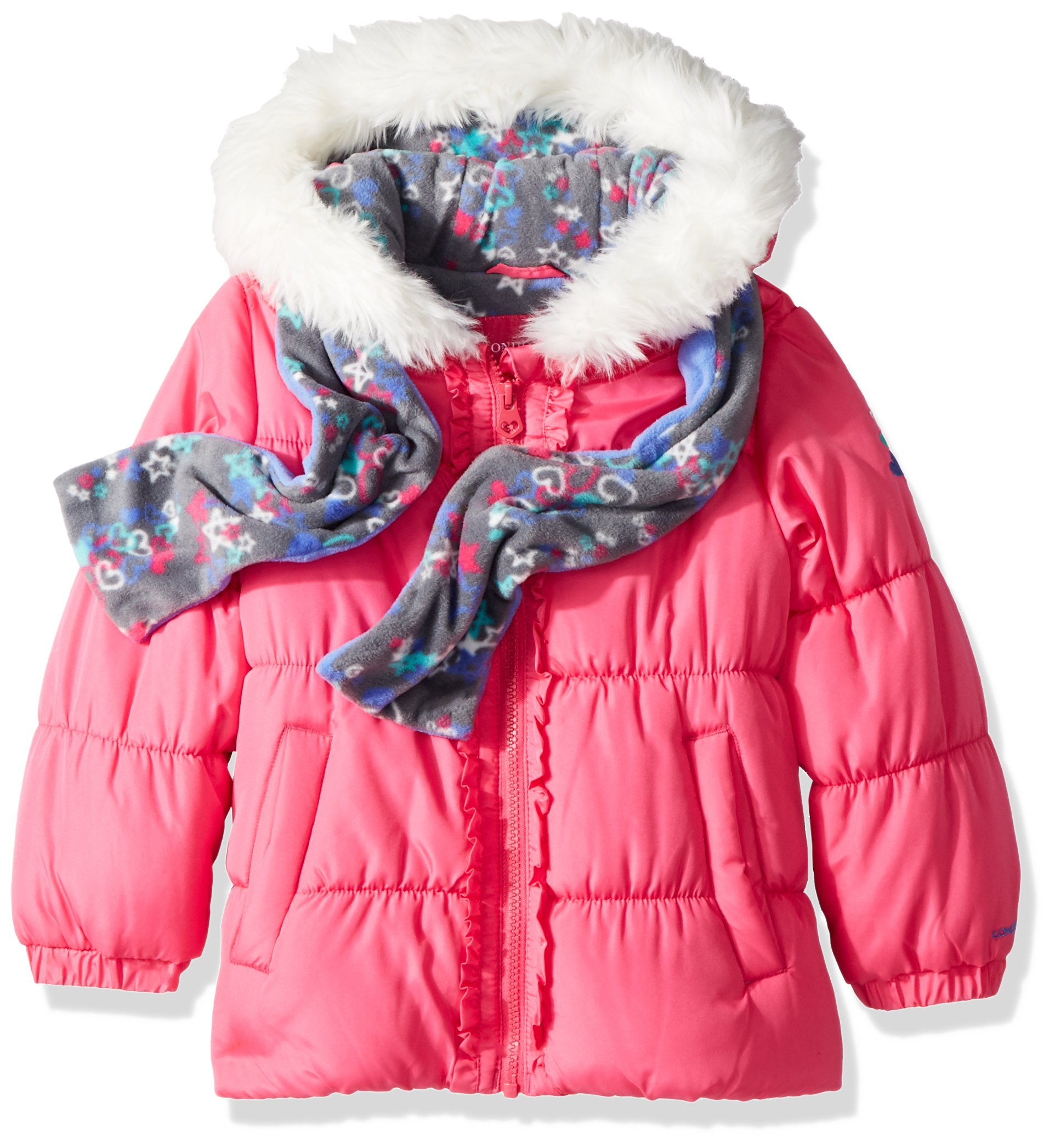 London Fog Little Girls' Winter Coat with Hat and Scarf, Poppy Shock/Grey Scarf, 5/6