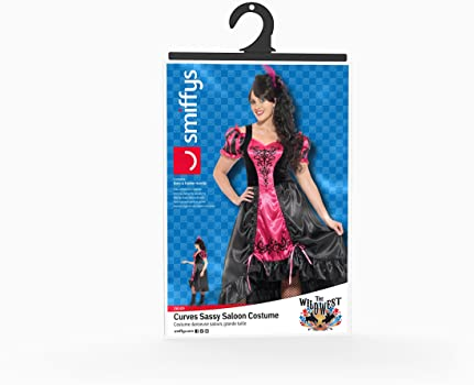 Adult Sassy Saloon Costume Plus Size Curves Wild West Ladies Fancy Dress Outfit