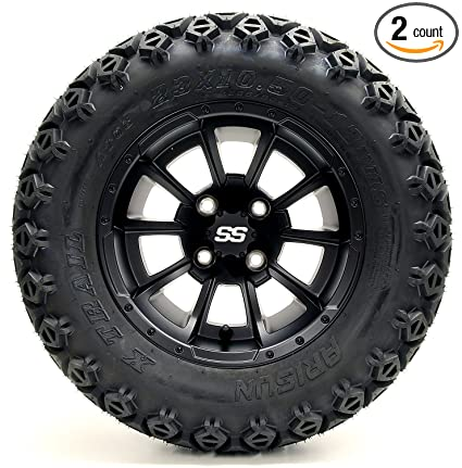 "Golf Cart 12"" Clutch Matte Black Wheel and 23 x 10.5-12 Golf Cart"