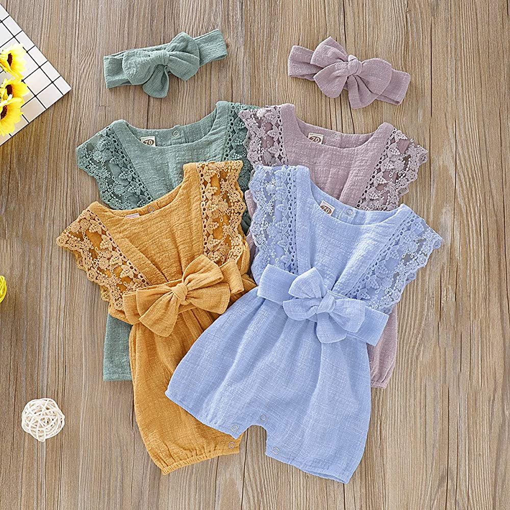 ZOELNIC Infant Girl Linen Romper Baby Girls Sleeveless Lace Jumpsuit Bow Headband Toddlder Kids Overalls Summer Outfits