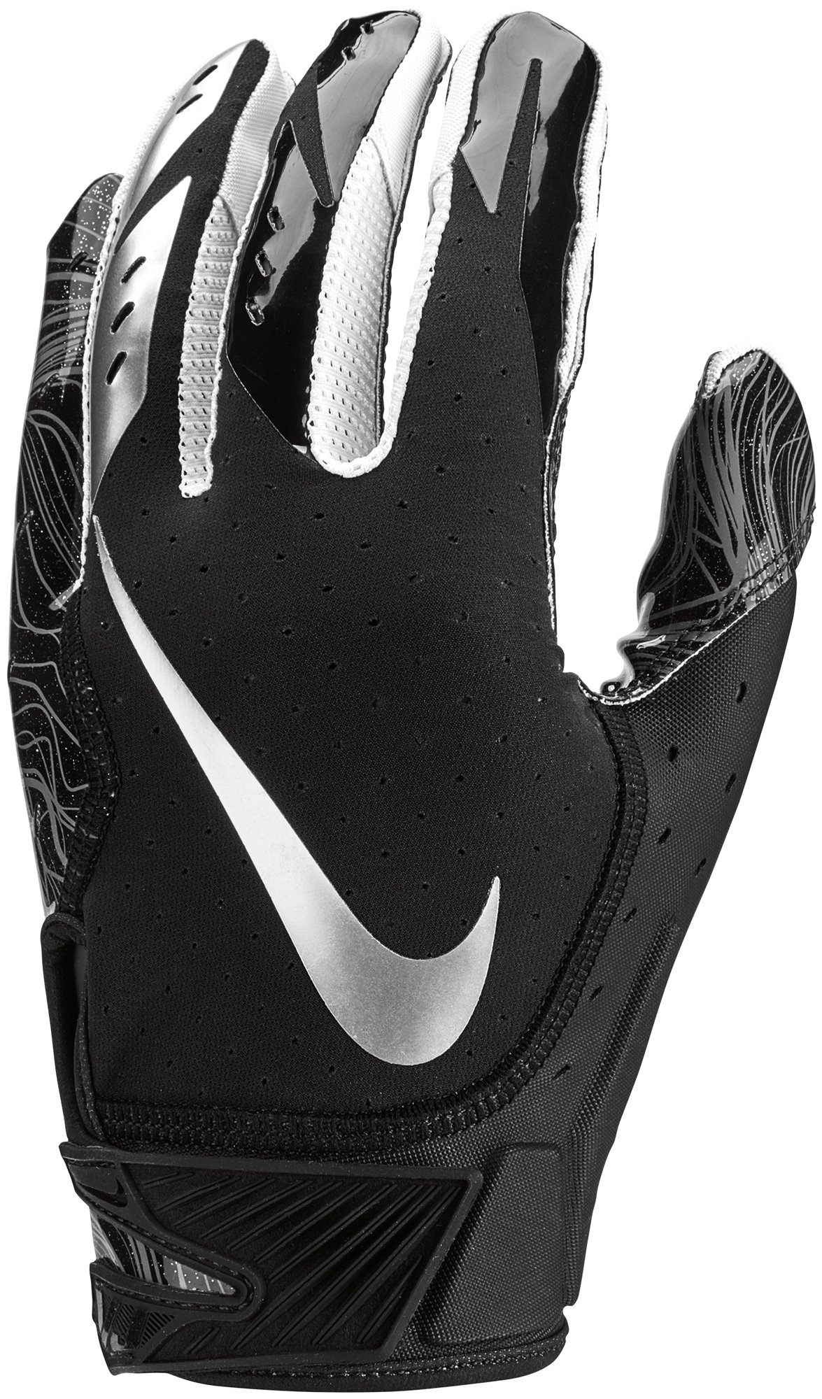 Men's Nike Vapor Jet 5.0 Football Gloves Black/Chrome Size Small
